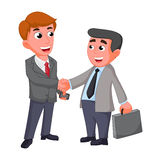 Two businessman, shaking hands happy negotiating Royalty Free Stock Photography