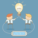 Two businessman share and brainstorming idea. Together vector illustration