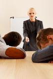 Two businessman sleeping on business presentation Stock Photos