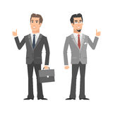 Two businessman smiling and showing thumbs up. Illustration, two businessman smiling and showing thumbs up, format EPS 10 Stock Photos