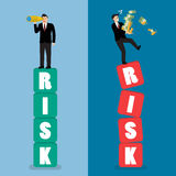 Two businessman standing on risk blocks Royalty Free Stock Photography