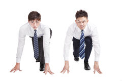 Two Businessman in a starting position Stock Photo