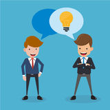 Two Businessman in Suit Talk about Have Good Idea for Business. Concept Business Vector Illustration Flat Style. Stock Images