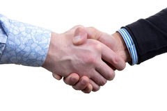Two businessmans on white handshake Royalty Free Stock Photos