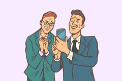 Two businessmen affection and joy, look at the smartphone. Comic cartoon pop art retro vector illustration drawing royalty free illustration