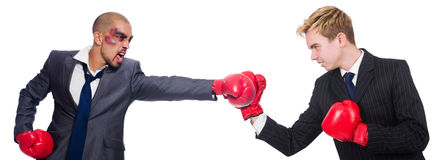 Two businessmen boxing isolated Royalty Free Stock Photo