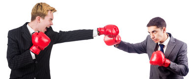 Two businessmen boxing isolated Royalty Free Stock Images