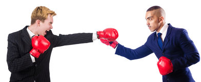 Two businessmen boxing Royalty Free Stock Image