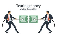 Two businessmen break a dollar bill with rope. Royalty Free Stock Photography