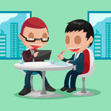 Two Businessmen Cartoon Character Meeting Stock Images