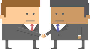 Two 2 businessmen characters shaking hands in 8 bit Stock Photos