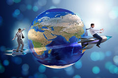 The two businessmen chasing around globe Stock Photo