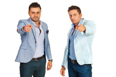 Two businessmen choice you Stock Photos