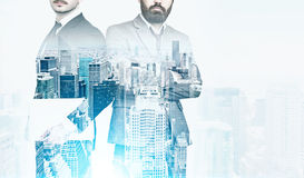 Two businessmen, cityscape, film effect Stock Images