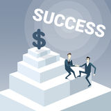Two Businessmen Climbing Stairs To Money Dollar Sign Successful Business Team Development Growth Concept. Vector Illustration Royalty Free Stock Image
