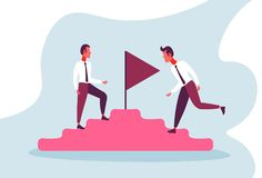 Two businessmen climbing top podium flag successful leadership concept competition cartoon character full length flat. Horizontal vector illustration royalty free illustration