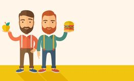 Two businessmen comparing apple to hamburger Royalty Free Stock Photography