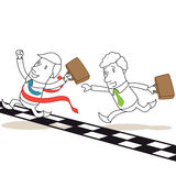 Two businessmen crossing finishing line. Vector illustration of monochrome cartoon characters: Two competing businessmen crossing the finishing line Stock Images