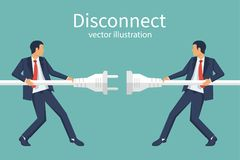 Two businessmen disconnection electric plug. Disconnect concept. Conflict cooperation. Disagreements of businessmen. Business problems in teamwork. Vector Royalty Free Stock Photography