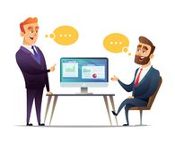 Two businessmen discuss the strategy of doing business. The employee tells the boss about business ideas. Stock Photo
