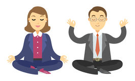Two businessmen doing meditation. Man and woman doing yoga. Meditation or relaxing. Vector cartoon illustration Royalty Free Stock Photo