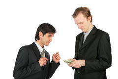 Two businessmen and dollars Royalty Free Stock Image