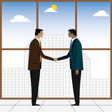 Two businessmen or executives handshake for partnership - vector Royalty Free Stock Photo