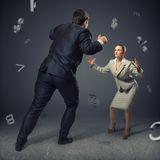 Two businessmen fighting as sumoist Stock Photography