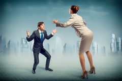 Two businessmen fighting as sumoist Royalty Free Stock Images