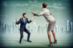 Two businessmen fighting as sumoist Stock Photo
