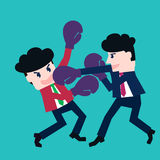Two businessmen fighting in a boxing with boxing gloves. Illustration Royalty Free Stock Photography