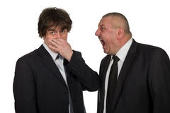Two businessmen find out emotionally attitudes isolated on white background royalty free stock image
