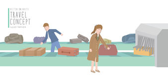 Two businessmen get luggage from the baggage carousel. Illustration vector two businessmen get luggage from the baggage carousel flat style Stock Photo