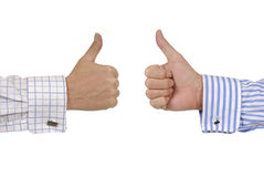 Two businessmen hands giving thumbs up signs isolated on white background Stock Image