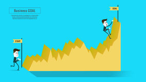 Two businessmen on the graph, stock illustration