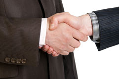 Two businessmen hands handshake Stock Photo
