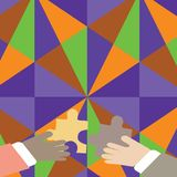 Two Businessmen Hands Holding Colorful Pieces of Jigsaw Puzzle are about to Interlock the Tiles. Creative Background for. Two Hands Holding Colorful Jigsaw vector illustration