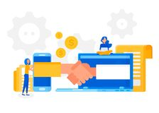 Online deal making. Signing a contract. Two Businessmen handshaking in Online meeting. Business people shaking hand after make business deal stock illustration