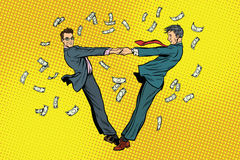 Two businessmen happily dancing in a whirlwind of money Stock Photos