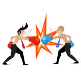 Two businessmen having a fight with boxing gloves, VECTOR, EPS10 Royalty Free Stock Photo