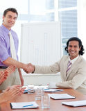 Two businessmen having a handshake Stock Photo