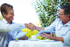 Two businessmen having a handshake Stock Images