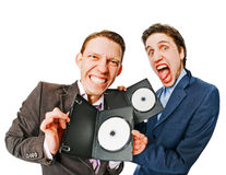 Two businessmen holding DVDs Stock Photography