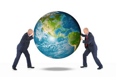 Two businessmen are holding the planet earth Stock Images