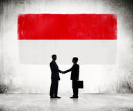 Two Businessmen with Indonesien Flag Royalty Free Stock Images