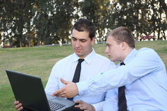 Two businessmen with laptop. At nature royalty free stock images