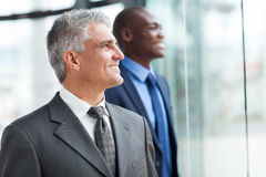Two businessmen looking out Royalty Free Stock Images