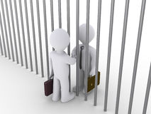 Two businessmen make a deal at the opposite sides of prison Royalty Free Stock Photo