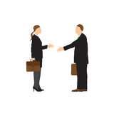 Two businessmen. Man and woman. Handshake. Royalty Free Stock Photography