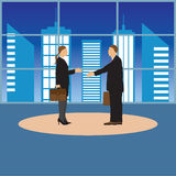 Two businessmen. Man and woman. Handshake. Stock Images